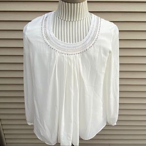 EUC Coldwater Creek flowy sheer white blouse